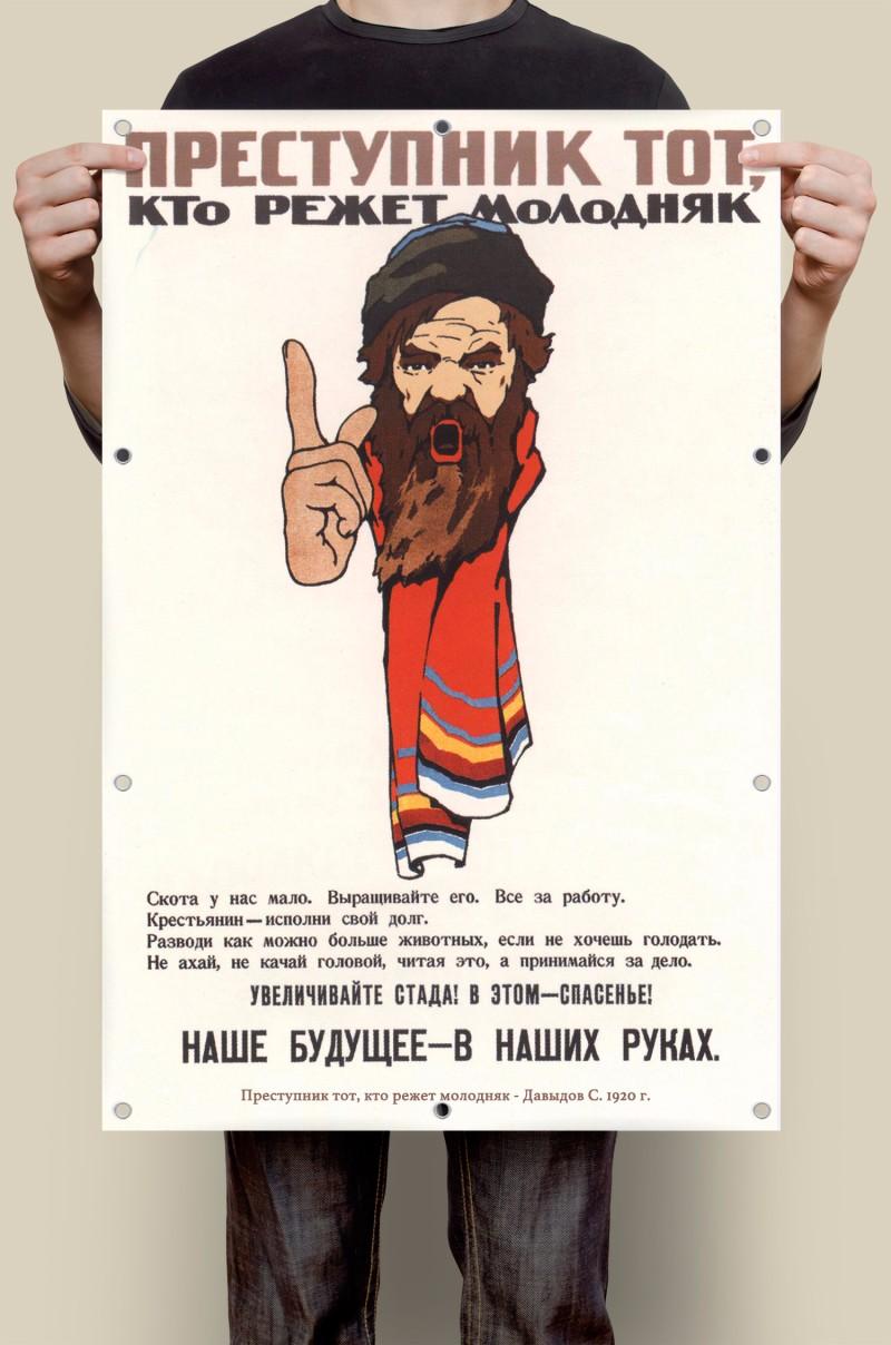 Советский плакат Преступник тот, кто режет молодняк!